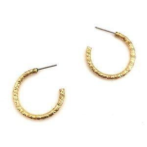 """Jewelry - Vintage Hoops Gold Tone Etched Hoop Earrings 0.8"""""""